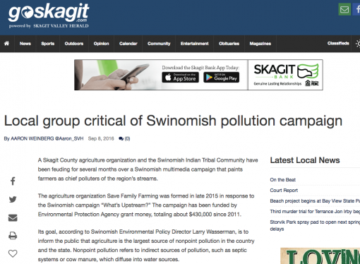 """Skagit Herald article on """"What's Upstream"""" highlights distortions"""